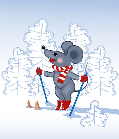 grey mouse skies in a forest in the winter Stock Vector - 2111179