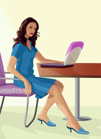harmonous:  young harmonous woman works behind a computer Illustration