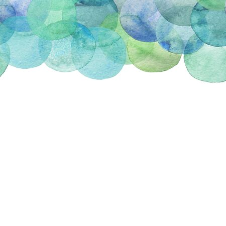 Seamless border of teal translucent watercolor circles. Hand painted Spots on a white background. Round. Isolated. Blobs of different colors