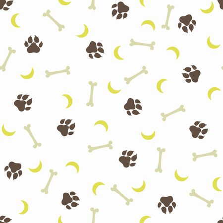 Seamless flat hand drawn dog pattern with bones, paw trace and moon isolated on white background. Animal tracks. Puppy paws repetitive texture. Packaging paper design, pet food accessories package