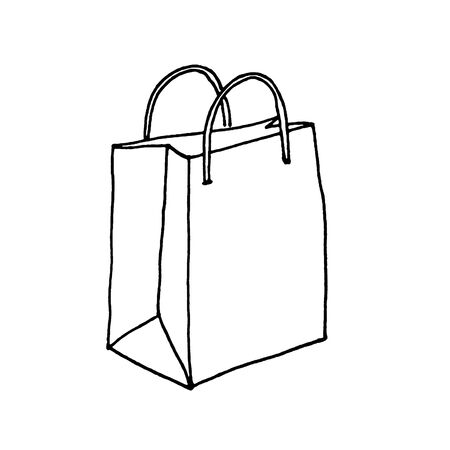 Paper bag with handles isolated. Line sketch. Black and White hand drawn illustration on white background. Package for purchases. Shopping bag. Doodle style. Sign symbol. 300 DPI