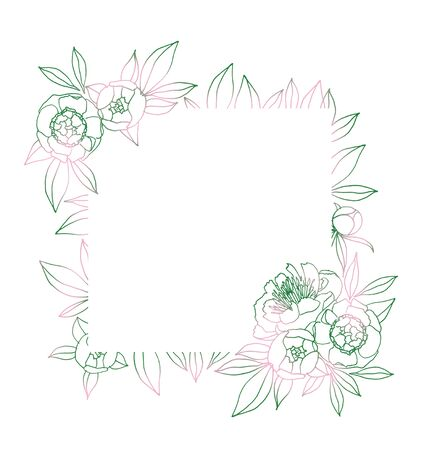 Frame with pink and green peony. Natural hand drawing illustration for congratulations, invitations