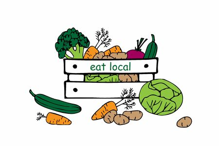 Farmers market vegetables in wooden crate. Hand drawn sketch. Cartoon illustration. Eat local. Isolated on white. Vector design element, logo design template, badge for natural and organic food
