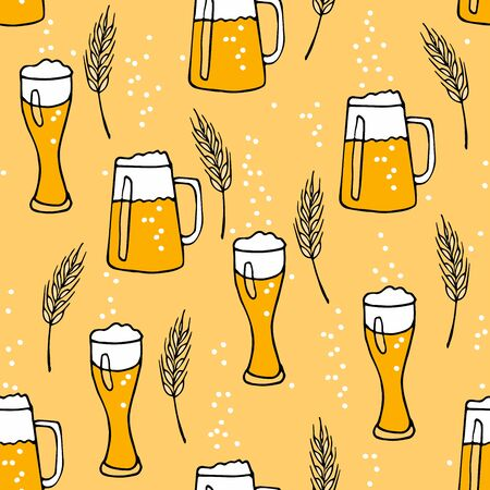 Mug and glass with beer, bubbles, cone on yellow background. Hand drawn vector doodle sketch. Oktoberfest Seamless pattern. For Pub menu, party decor, placemat, t-shirt print and beer themes