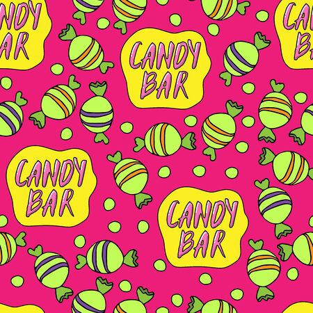 Candy bar seamless pattern. Bright vector illustration. Candies and lettering on pink background.