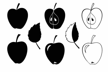 Black and white hand drawn doodle style fruit. Cute apple vector icon set. Fruit apples set. Set of apples. Sign isolated on white background. For stickers, invitations, cards, scrapbook, albums, tags