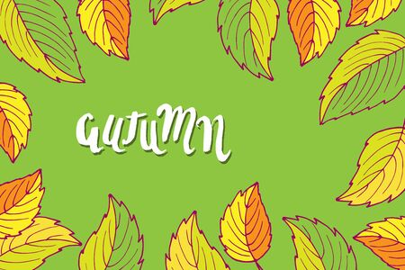 Rectangular frame with fall leaves. Hand drawn vector sketch with autumn lettering. Floral Herb Design elements. For scrapbooking, party design, invitation, greeting card, poster Hello Autumn. Ilustração