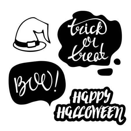 Set of halloween silhouettes. Halloween stickers. Black Icon on withe background. Isolated quotes Hand drawn Vector illustration. For poster, greeting card, banner, t-shirt print, party decor