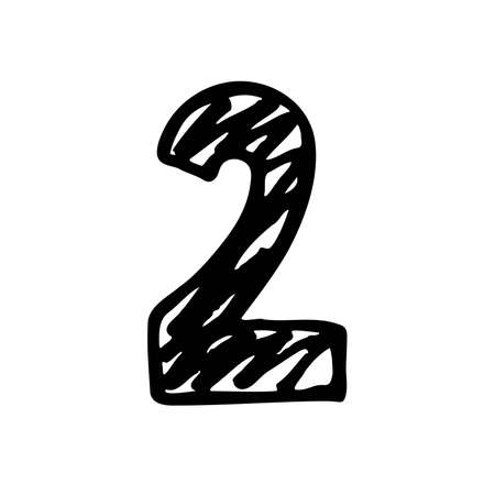 Number 2. Sign number, Black and white graphic number two logo templates. Hand drown vector doodle isolated on white background. Brush Stroke textured lettering. Vector illustration Vectores