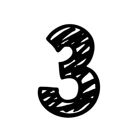 Number 3. Sign number, Black and white graphic number three logo templates. Hand drown vector doodle isolated on white background. Brush Stroke textured lettering. Vector illustration