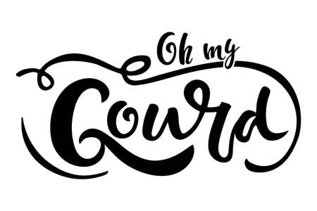 Oh my Gourd handwritten lettering wits hand drawing pumpkin sketch. Vector calligraphy. Sublimation designs For card, print, invitation, t-shirt design, harvest, thanksgiving party decor.