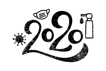 Distressed 2020 hand drawn lettering. Year of the pandemic and covid-19 virus. Number with face mask, virus, sanitizer icon. Coronavirus during quarantine. Silhouette sketch. Vector illustration Vectores