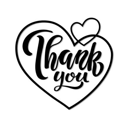 Heart sticker with Thank You Text. Wedding Handwritten lettering. Typography poster on white background. Celebration quote Flat Vector Design Template Element. Card, print, invitation, t-shirt design Vectores