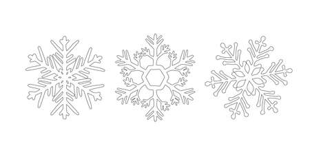 Snowflake doodle icon set. Hand drawn Vector winter symbol. Christmas and New Year element. Christmas design element in doodle style. Snow logo. Simple black illustration on white background.