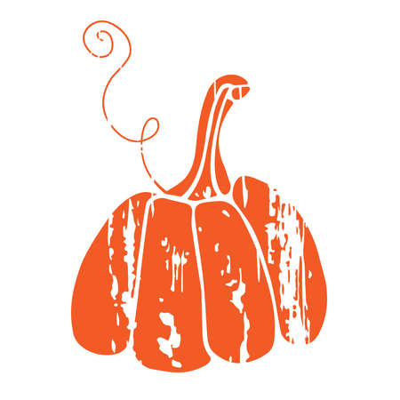 Distressed Pumpkin Silhouette. Red Grunge file. Fall, Halloween, Thanksgiving, Autumn, Harvest party decor. For card, t-shirt design, poster, invitation, banner. Flat design style. Vegetable organic