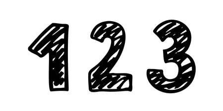Number 1. Sign number, Concept top winner success. Hand drown vector doodle one isolated on white background. Black lettering. Brush Stroke textured.