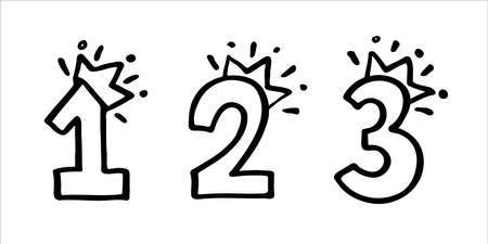 Number 1 2 3 with crown set. Hand drown vector one, two, three. Design for baby birthday little princess or prince party invitation, logo, sticker, greeting card, shirt print. Kids competitions prize Vectores