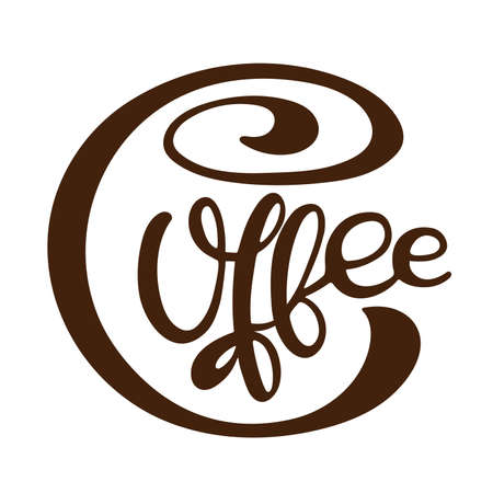 Coffee text. Vector calligraphy illustration. Hand written design. Text minimalist poster in braun and white. Logo for coffee company. Template of banner or poster for coffee shop or restaurant