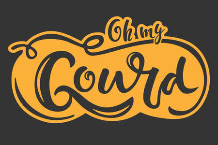 Sticker with Oh my Gourd handwritten lettering and hand drawing pumpkin sketch. Vector calligraphy. Sublimation designs For card, print, invitation, t-shirt design, harvest, thanksgiving party decor.