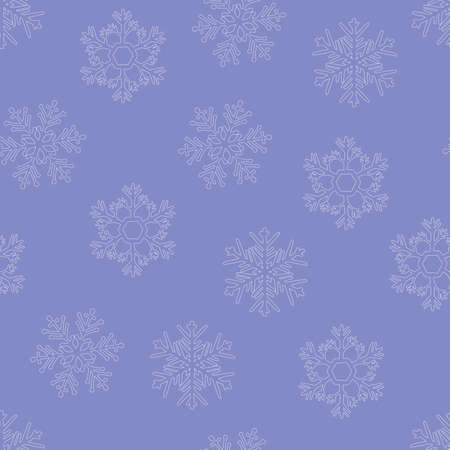 Snowflakes doodle seamless pattern. Hand drawn Vector winter symbol. Christmas and New Year element. White snowflakes contour on lilac background. Abstract shapes. For wallpaper, print and posters
