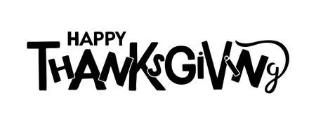 Happy Thanksgiving Hand drawn lettering. Autumn celebration vector calligraphy text for Thanksgiving Day. For cards, prints, invitations, t-shirt design. Black text isolated on white background Vectores