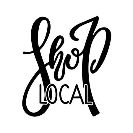Shop local Small Business logo design. Black and white Handwritten logotype isolated on white background. Support local business, buy local products, local store, family shop, farmers market banner. Vectores