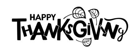 Hppy Thanksgiving Hand drawn lettering with falling leaves design. Autumn poster. Celebration quote. For cards, prints, invitations, t-shirt design, badge. Black text isolated on white background Vectores