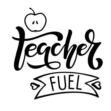 Teacher life lettering with apple flat element. Vector Hand drawn calligraphy lettering inscription. For greeting card, teacher gift, craft, school design, sublimation for t shirt, mug Vectores