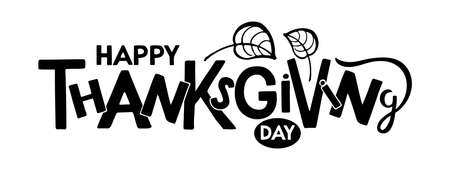 Happy Thanksgiving day Hand drawn lettering with falling leaves design. Autumn poster. Celebration quote. For cards, prints, invitations, t-shirt design, badge. Black text isolated on white background