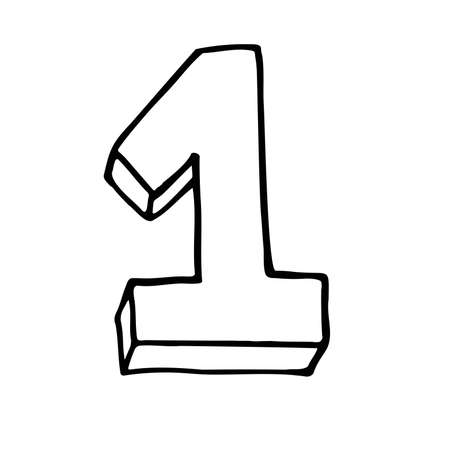 Number 1. Sign number, Concept top winner success. Hand drown vector doodle one isolated on white background. Black lettering. Poster or brochure template. victory Vector illustration. Vectores