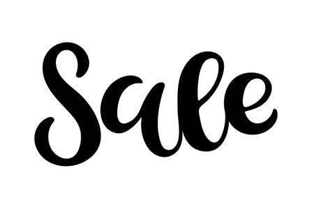 Sale lettering. Vector calligraphy. Handwritten text. SALE word, text, inscription. Sketch. Typography sing. Vector Background. Usable for card and poster, sale billboard and sign, banner and badge. Ilustração