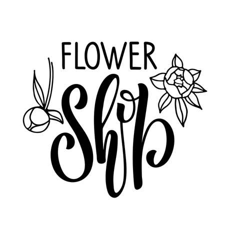 Flower Shop logo design. Black and white text with flower bud isolated on white background. Floral emblem. Interior Icon. Brand identity concept. Nature line style stamp. Business sign. Floral label