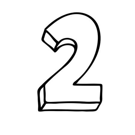 Number 2. Sign number, Concept top winner success. Hand drown vector doodle two isolated on white background. Black lettering. Poster or brochure template. victory Vector illustration.