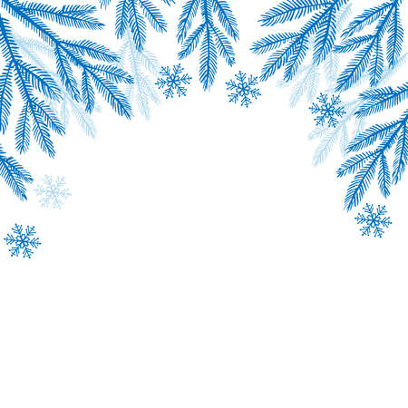 Evergreen twigs, snowflakes border. Winter background. Vector Christmas and New Year frame. Fir Tree Branches. Season greeting Winter Xmas holidays. Traditional winter attribute. Blue Frosty pattern