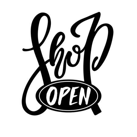 Shop Open logo design. Black and white Handwritten logotype isolated on white background. Business commerce Icon vector illustration filled open sign. On store door.
