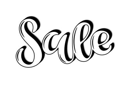 Sale lettering. Vector calligraphy. Handwritten text. SALE word, text, inscription. Sketch Hand drawn Sale sign. For card, poster, sale billboard, sign, banner, badge, icon, tag