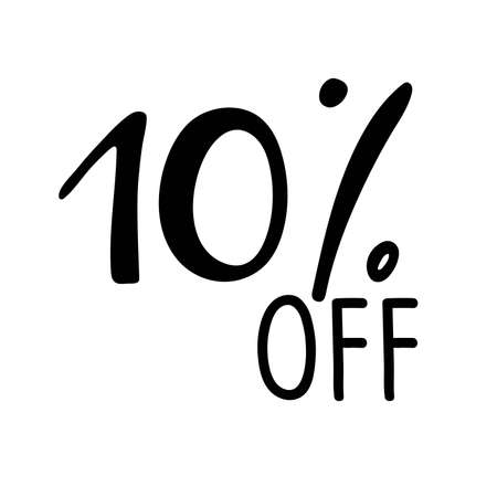 10 percent off lettering. Vector calligraphy. Handwritten text. Sketch Hand drawn Sale sign. For card, poster, sale billboard, sign, banner, badge, icon, tag. Sketch discount collection - 10 percent. Vectores