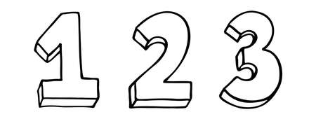 Set of Numbers 1 2 3. Sign number, Concept top winner success. Hand drown vector doodle one two three isolated on white background. Black contour lettering. 1-2-3 badges set