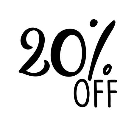 20 percent off lettering. Vector calligraphy. Handwritten text. Sketch Hand drawn Sale sign. For card, poster, sale billboard, sign, banner, badge, icon, tag. Sketch discount collection - 20 percent.