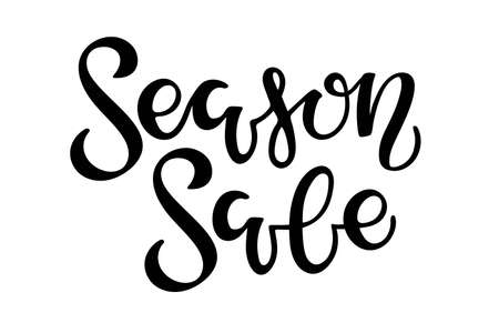 Season Sale lettering. Vector calligraphy. Handwritten text, word, text, inscription. Sketch. Typography sing. Vector Background. Usable for card and poster, sale billboard and sign, banner and badge.