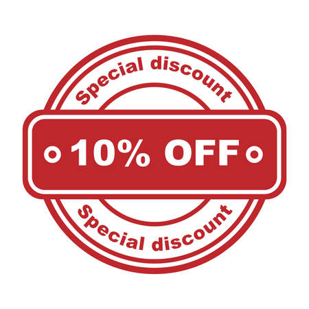 Special discount 10 percent off stamp. Red rubber stamp on white background. illustration. Sale shopping text. Price Discount Symbol. Sketch sale collection - 10 percent. Vectores