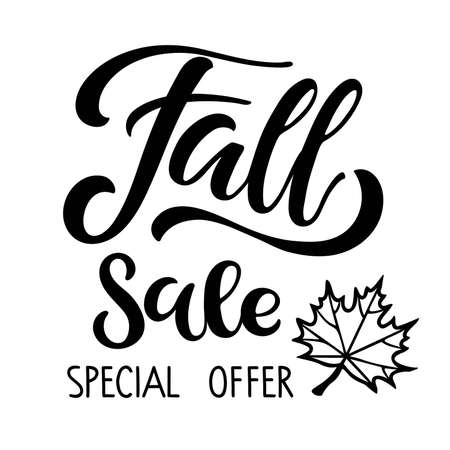 Fall Sale Special Offer. Autumn Sale lettering with falling leaf. Vector calligraphy. For fall season shopping. Typography sing. For card and poster, sale billboard and sign, banner and badge. Ilustração