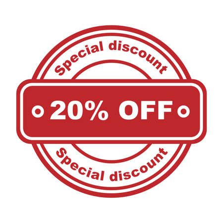 Special discount 20 percent off. Red rubber stamp on white background. Vector illustration. Sale shopping text. Discount Symbol. Sketch sale collection - 20 percent.