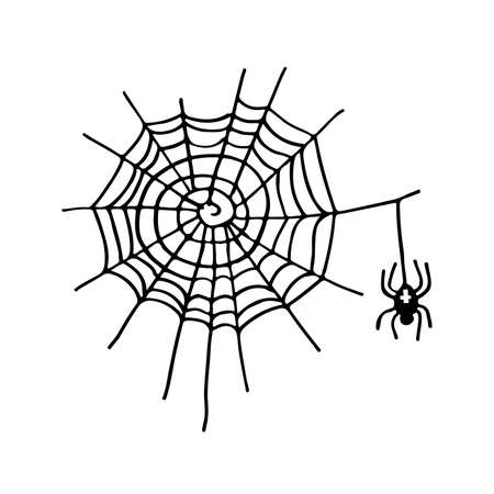 Halloween sign. Cobweb and spider with cross. Black-and-white illustration. Use for printing, posters, T-shirts, textile drawing, print pattern. Ilustração