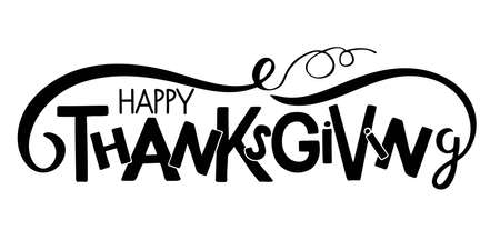 Happy Thanksgiving Hand drawn lettering with pumpkin element. Autumn poster. Celebration quote. For cards, prints, invitations, t-shirt design, badge. Black text isolated on white background.. Иллюстрация