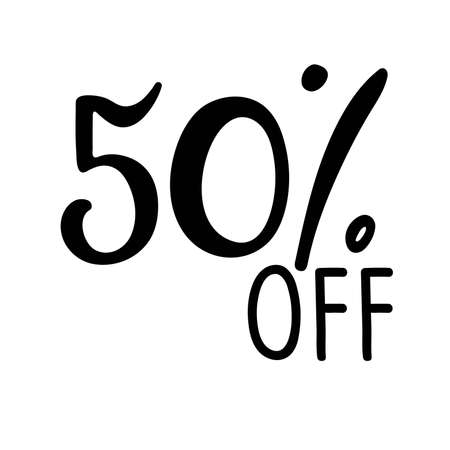 50 percent off lettering. Vector calligraphy. Handwritten text. Sketch Hand drawn Sale sign. For card, poster, sale billboard, sign, banner, badge, icon, tag. Sketch discount collection - 50 percent. Vectores