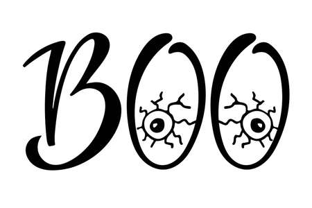 Boo lettering. Halloween sign. Text with sketch design element. Frightening symbol. Scary eyes. Black-and-white illustration. Use for printing, posters, T-shirts, textile drawing, print pattern.