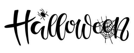 Halloween lettering. Text with sketch design element. Frightening symbol. Spider and Web. Black-and-white illustration. Use for printing, posters, card, T-shirts, textile drawing, print pattern. Ilustração