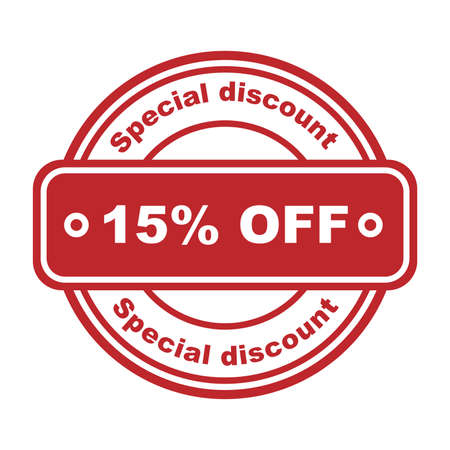 Special discount 15 percent off. Red rubber stamp on white background. For flyer, poster, shopping, for symbol sign, discount, selling, banner, web, header. Sketch sale collection - 15 percent. Ilustração