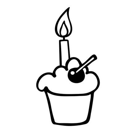 Cupcake with burning candle. Hand drown vector. Design for birthday, party invitation, logo, sticker, greeting card, shirt print. Happy birthday. Anniversary celebration Template. Clip linear icon.